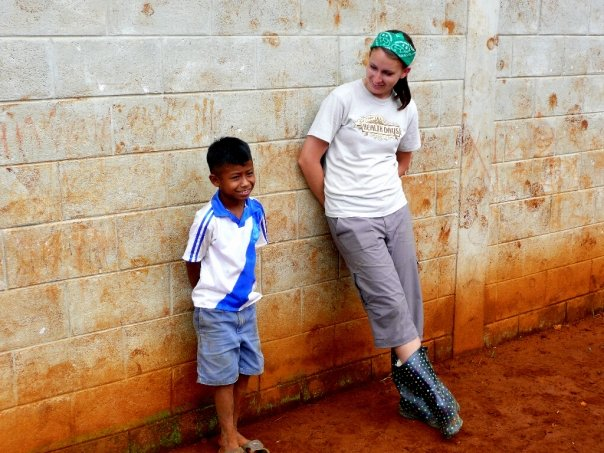While building schools in Guatemala, Andrea loved taking breaks to hang out with the kids and play games with them.