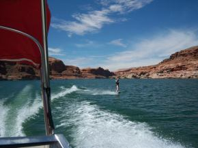 Andrea wakeboarding at Lake Powell