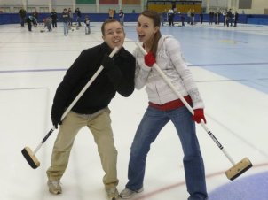 Taking a Curling Class together with some friends.