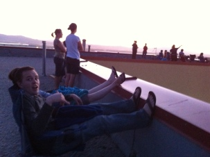 We watch fireworks every 4th of July while sitting on the roof of Andrea's dad's work. Best seats in the house for fireworks!