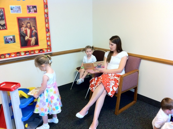 Andrea taking care of the kids in the nursery.