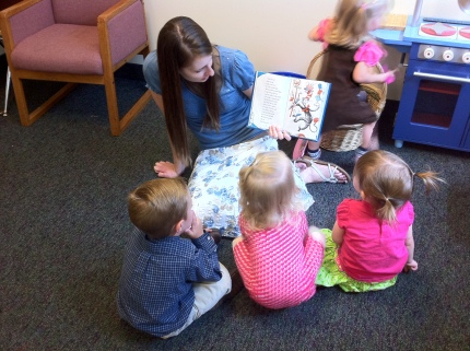 Andrea reading to some of the kids when we watched the nursery kids.