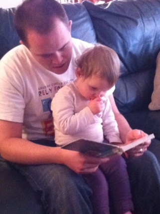 Jake loves reading to the kids when we babysit