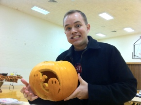 Jake did an excellent pumpkin then stuck some candy in his mouth just in time for a picture!