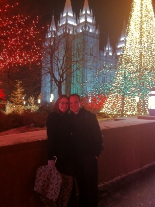 Checking out the beautiful Christmas lights on Temple Square.