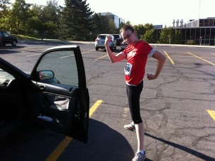 We ran a 5K together... can't forget to stretch!