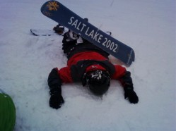 Jake after a long (but wonderful) day of snowboarding.