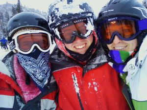 Snowboarding with Andrea's brother.  Have we mentioned that we LOVE getting on the mountain and SNOWBOARDING through the powder?