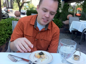 """Jake trying escargot for the first time at the Paris Bistro.  Watch the video in the """"Videos"""" tab."""