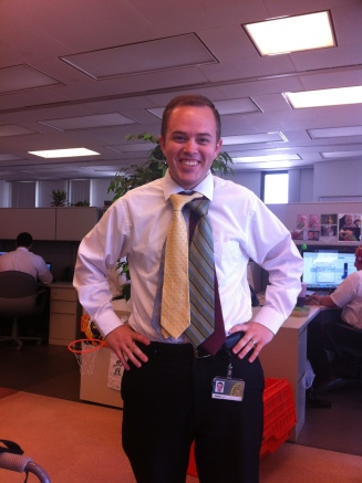 Jake wears many hats... I mean ties at work!
