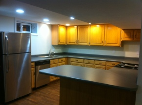 We remodeled out basement... knocked everything out and started from scratch. This is the kitchen that we added for downstairs.