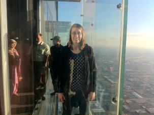 Andrea on the Sky Deck in Chicago