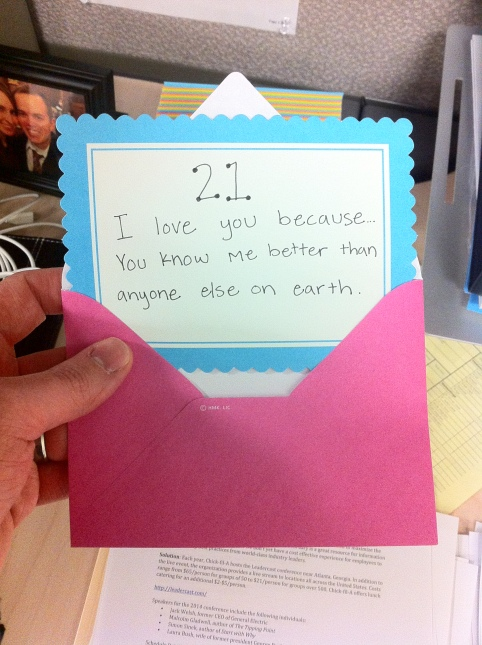 Andrea writes sweet notes for Jake to open at work.