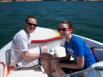 One of our favorite summer activities is boating (tubing, water skiing, wake boarding, playing in the water, or just riding in the boat). This is at Lake Powell