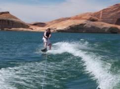 Jake wakeboarding at Lake Powell... he's even out of the wake!
